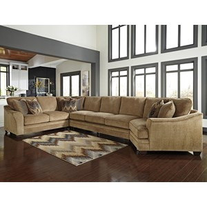 Benchcraft Lonsdale 4-Piece Sectional w/ Armless Sofa & Cuddler