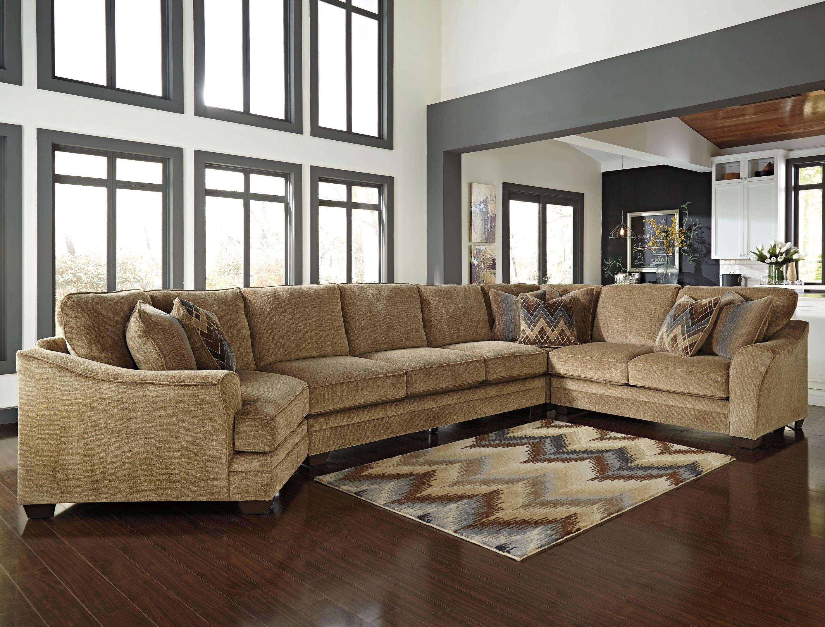 Benchcraft Lonsdale 4-Piece Sectional w/ Armless Sofa & Cuddler - Item Number: 9211176+99+77+56