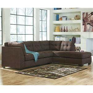 Benchcraft Maier - Walnut 2-Piece Sectional w/ Sleeper Sofa & Chaise