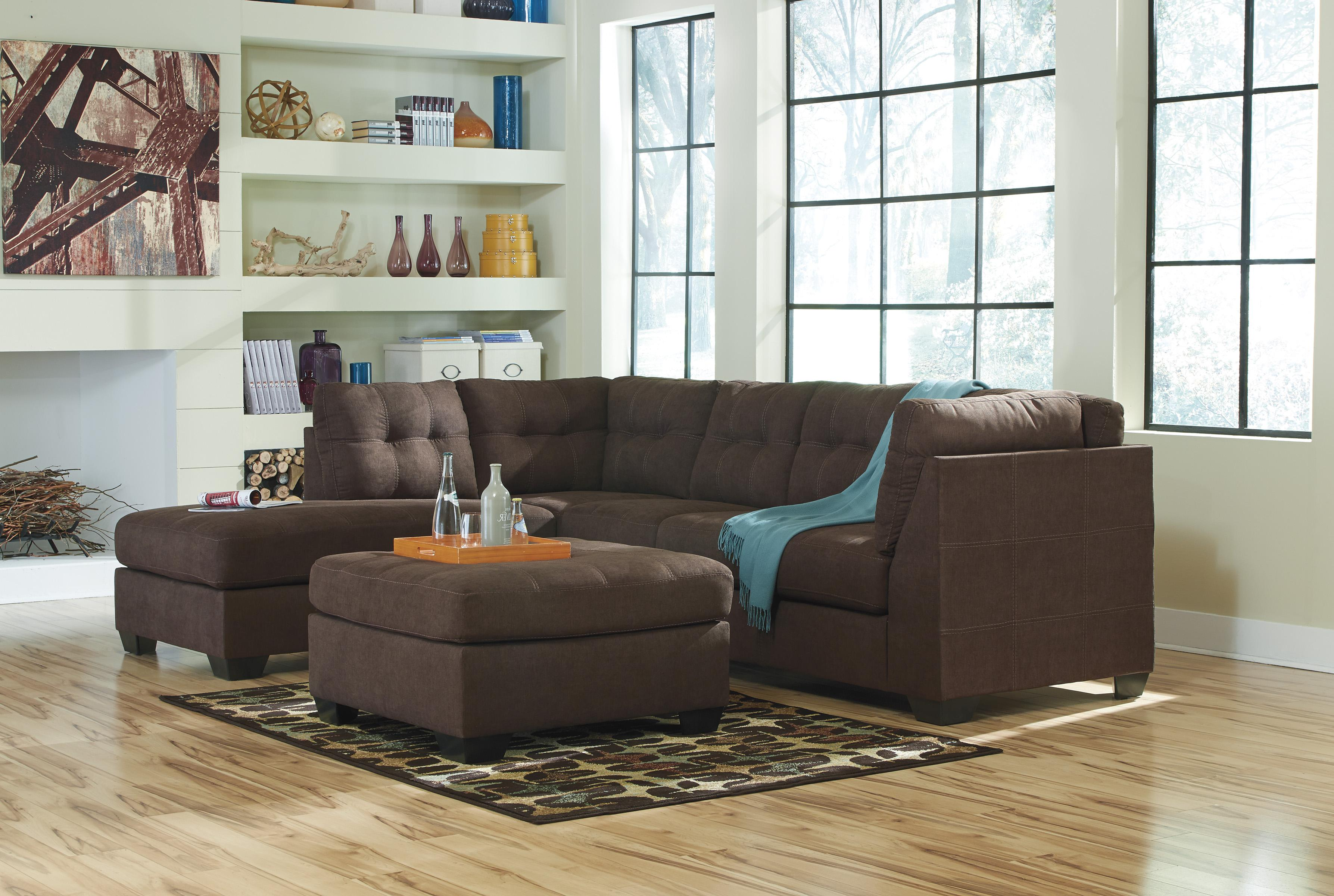 Benchcraft maier walnut 2 piece sectional w sleeper for Andrea 2 piece sleeper chaise