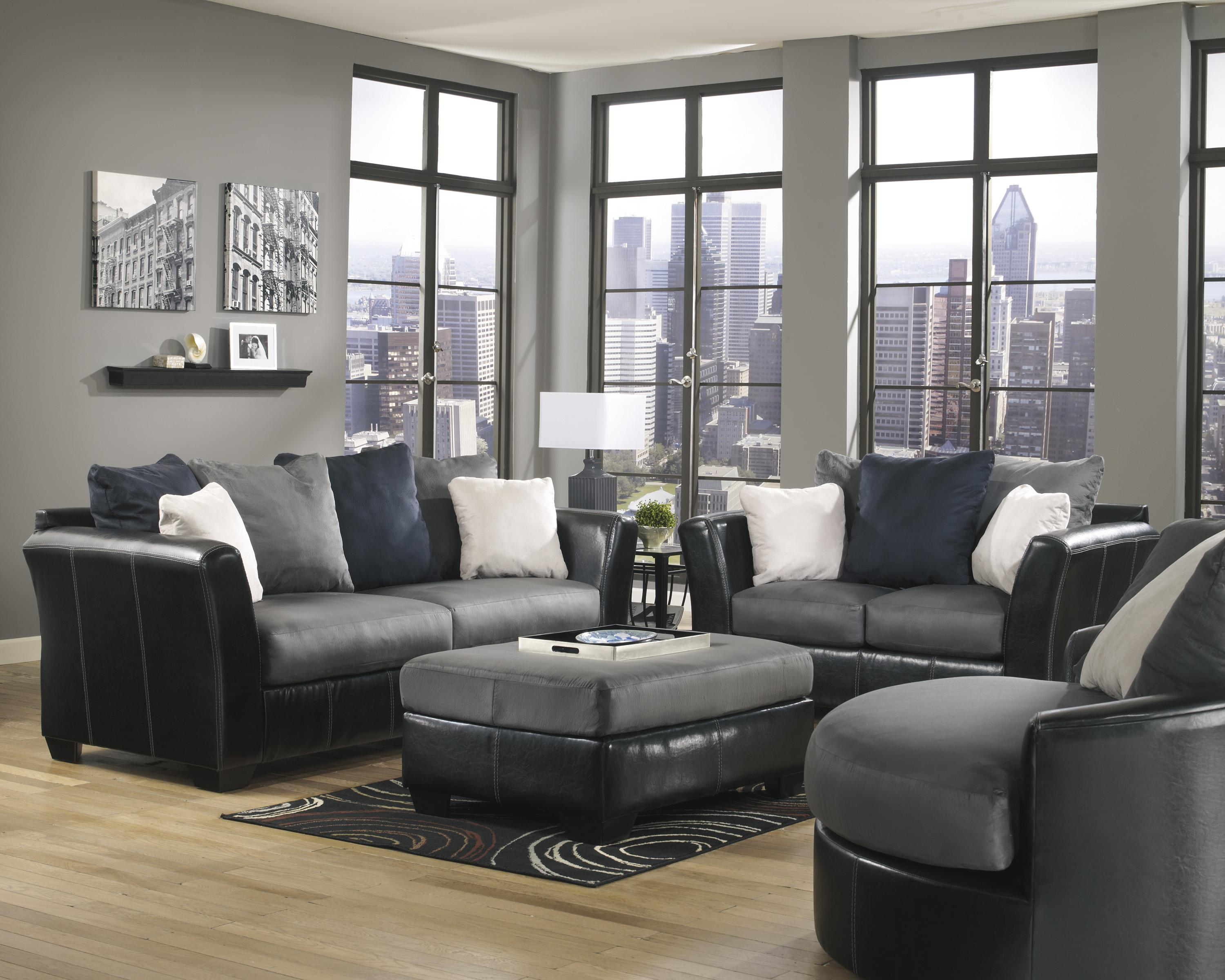 Benchcraft Masoli - Cobblestone Stationary Living Room Group - Item Number: 14200 Living Room Group 3