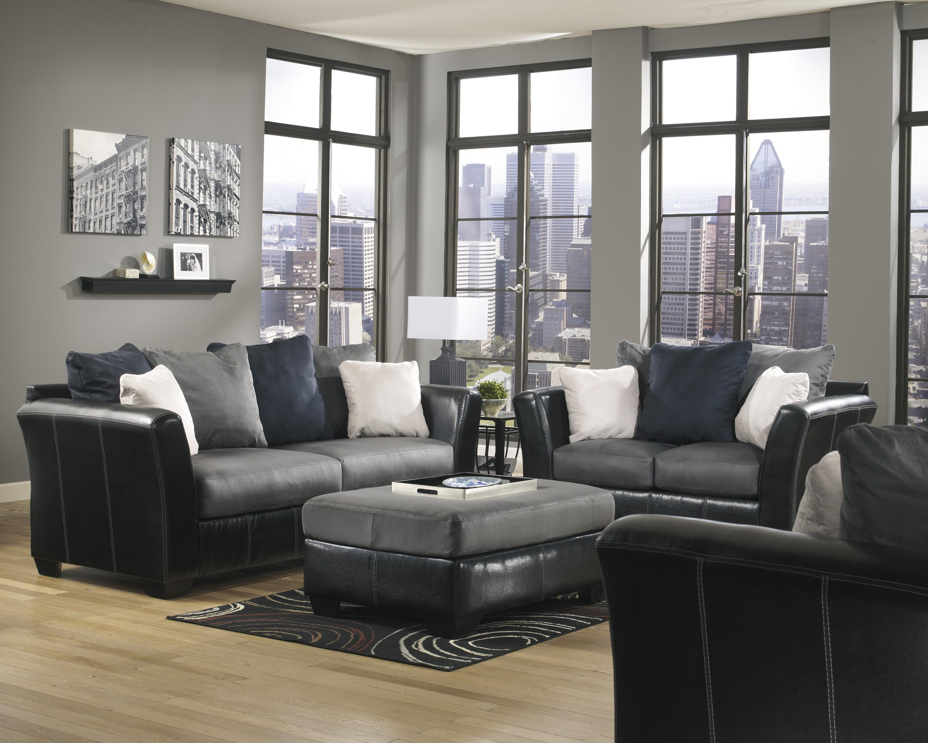 Ashley/Benchcraft Masoli - Cobblestone Stationary Living Room Group - Item Number: 14200 Living Room Group 4