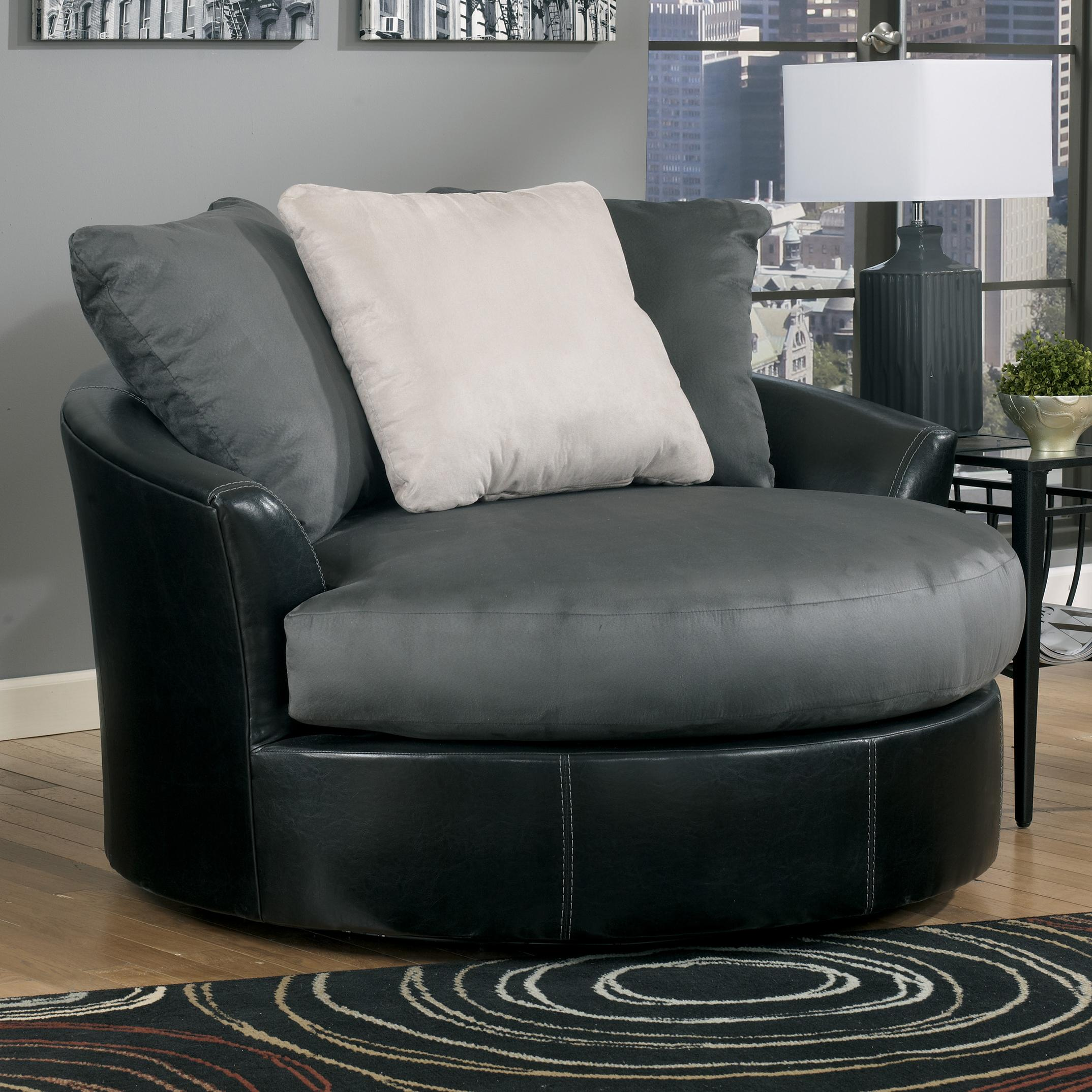 benchcraft masoli cobblestone oversized swivel accent chair
