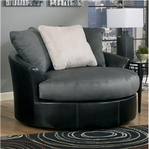 Benchcraft Masoli - Cobblestone Oversized Swivel Accent Chair