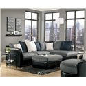 Benchcraft Masoli - Cobblestone Oversized Swivel Accent Chair - Shown with Sectional and Oversized Accent Ottoman