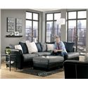 Benchcraft Masoli - Cobblestone Chair and a Half - Shown with Sectional and Oversized Accent Ottoman