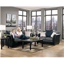 Ashley/Benchcraft Masoli - Cobblestone Faux Leather/Fabric Loveseat with Loose Back Pillows - Shown with Sofa