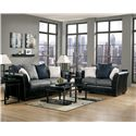 Benchcraft Masoli - Cobblestone Faux Leather/Fabric Sofa with Loose Back Pillows - Shown with Loveseat