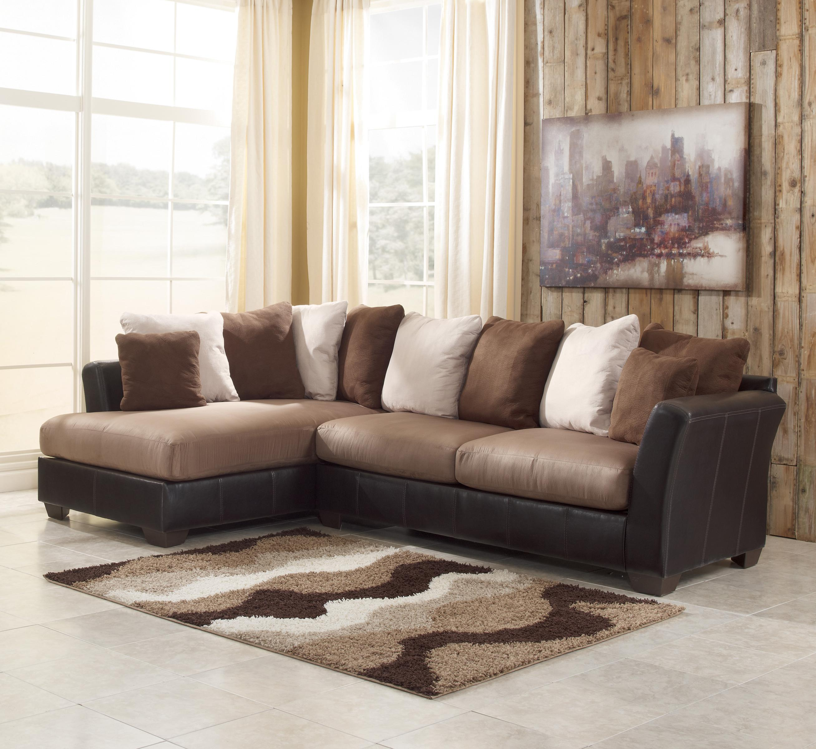 Benchcraft Masoli - Mocha 2-Piece Sectional with Chaise - Item Number: 1420116+67