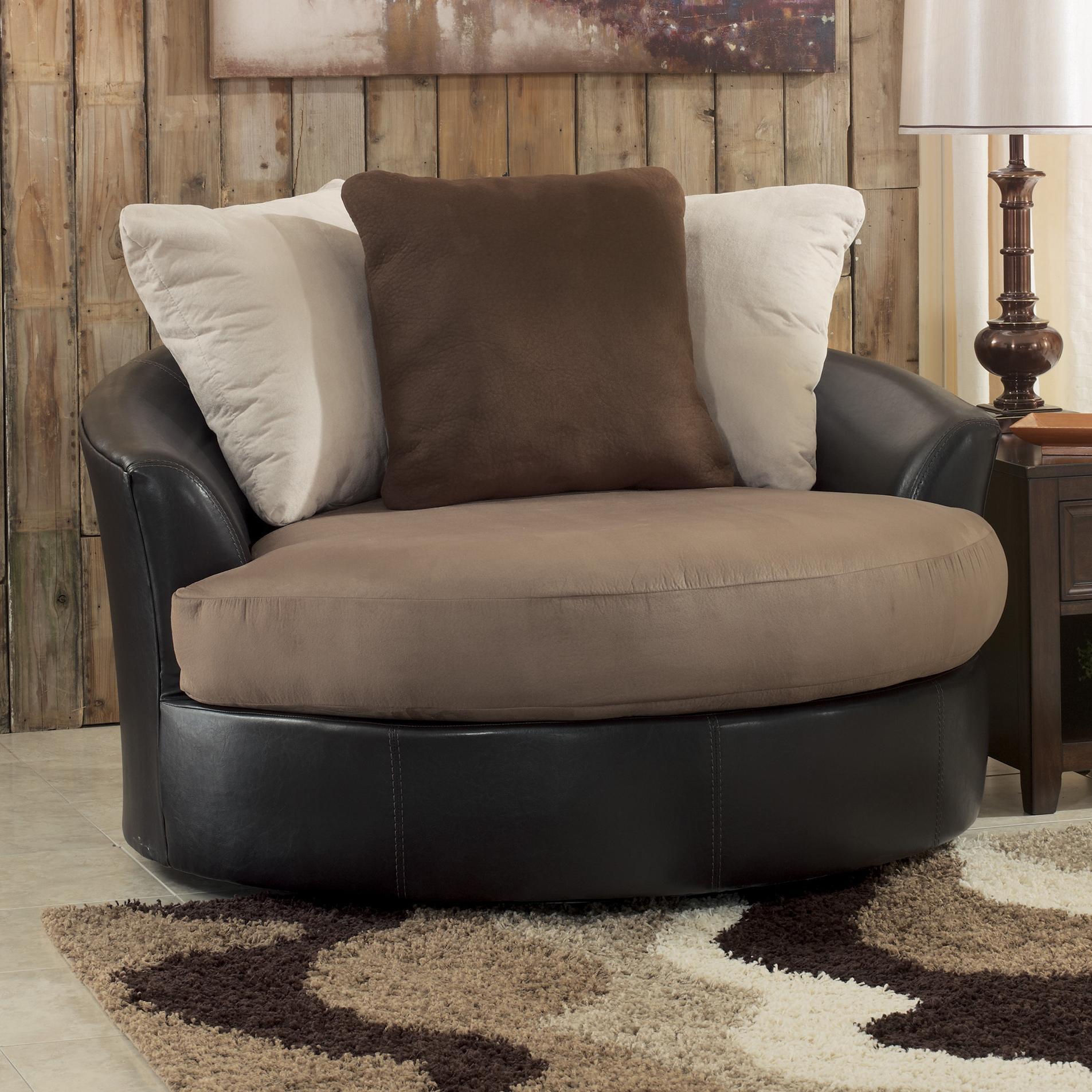 Living Room Oversized Chairs Benchcraft Masoli Mocha Oversized Swivel Accent Chair Wayside
