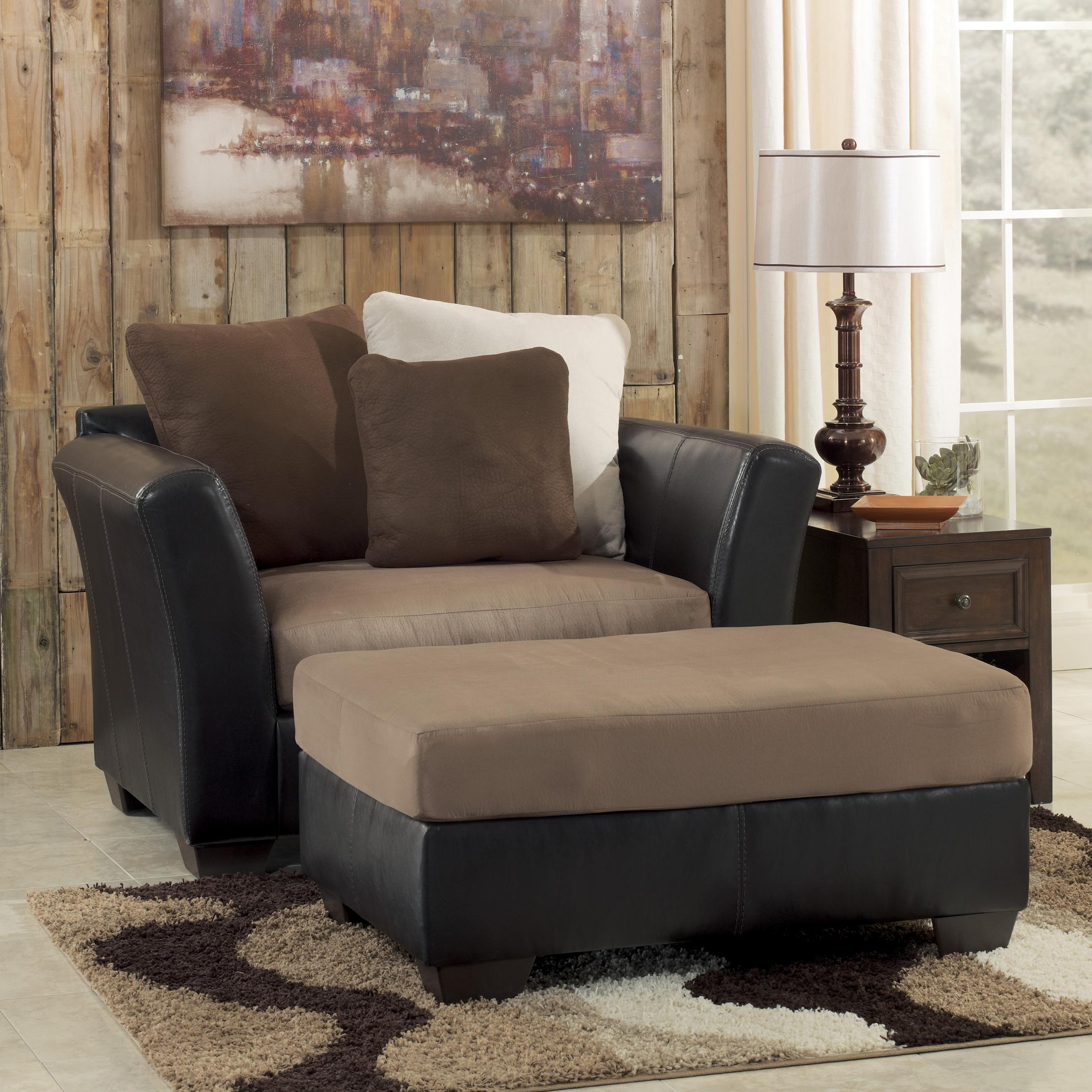 Benchcraft Masoli - Mocha Chair and a Half & Oversized Accent Ottoman - Item Number: 1420123+08