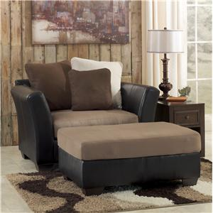 Benchcraft Masoli - Mocha Chair and a Half & Oversized Accent Ottoman