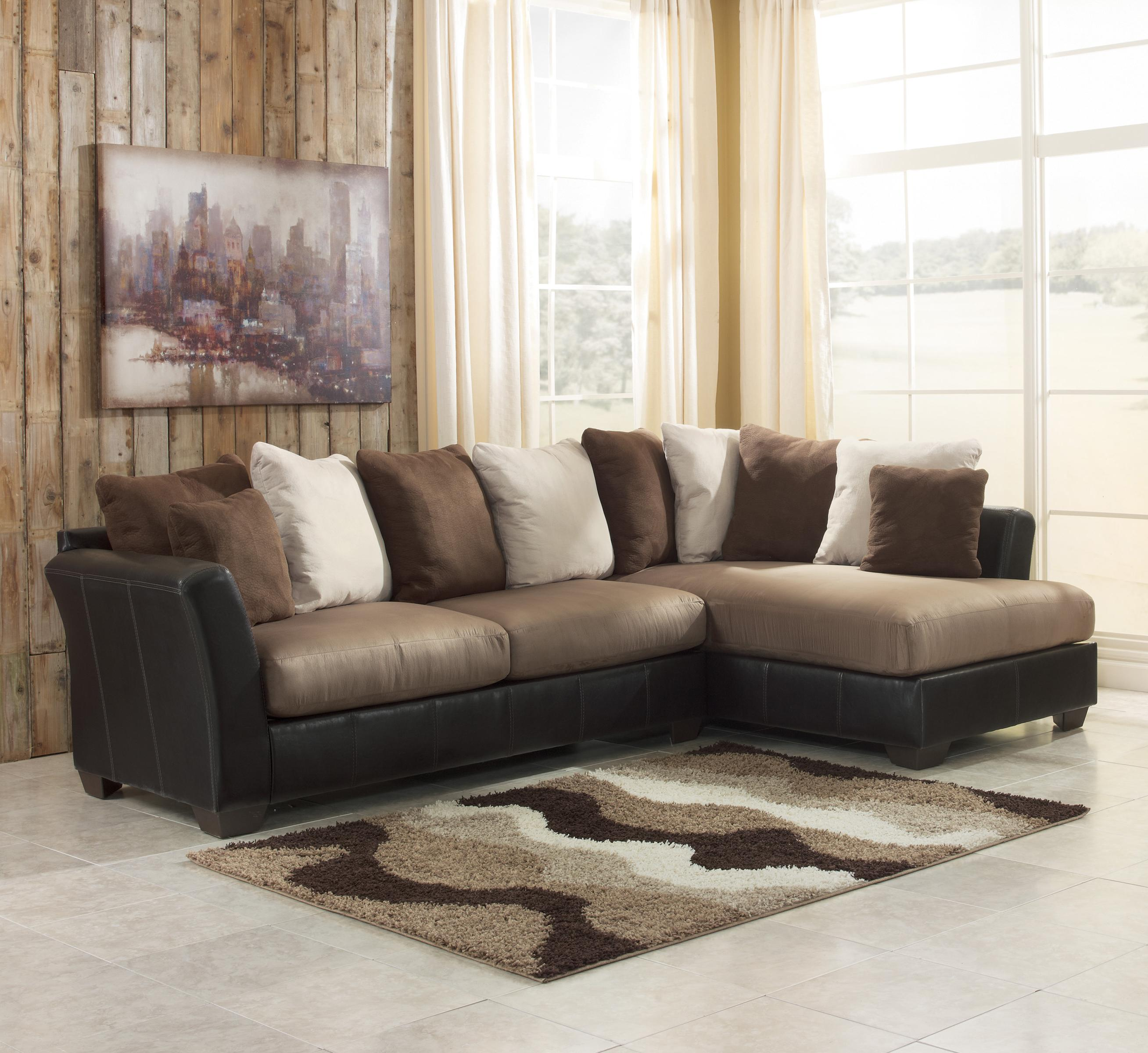 Benchcraft Masoli - Mocha 2-Piece Sectional with Chaise - Item Number: 1420166+17