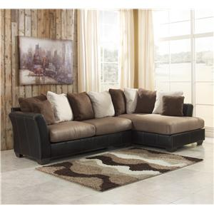 Benchcraft Masoli - Mocha 2-Piece Sectional with Chaise