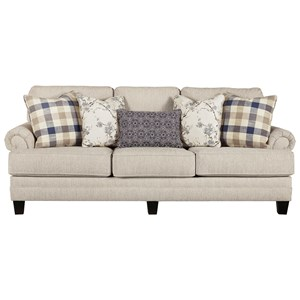 Sofa with Rolled Arms with Pleats