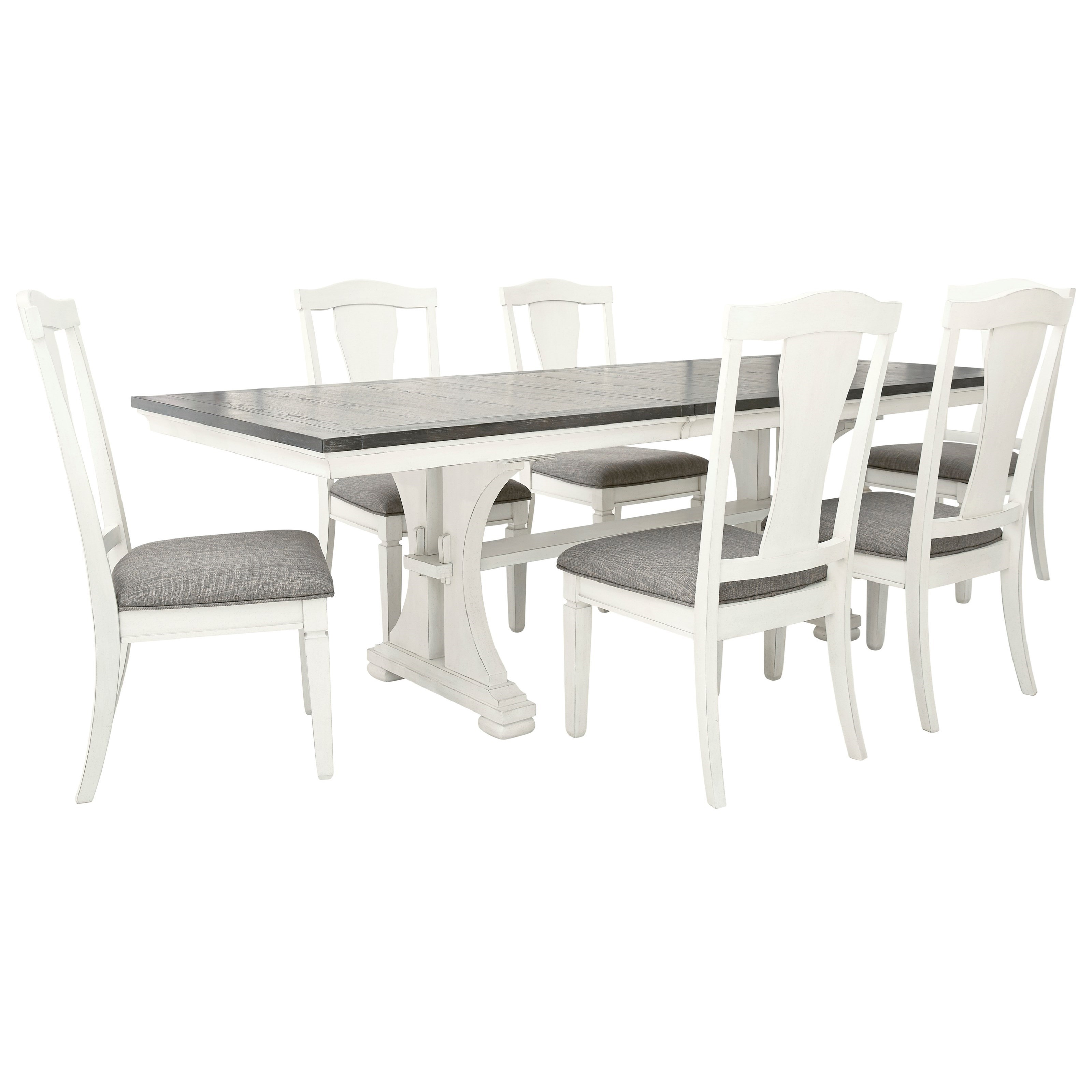 Benchcraft Nashbryn 7 Piece Dining Set With Upholstered Chairs Value City Furniture Dining 7 Or More Piece Sets