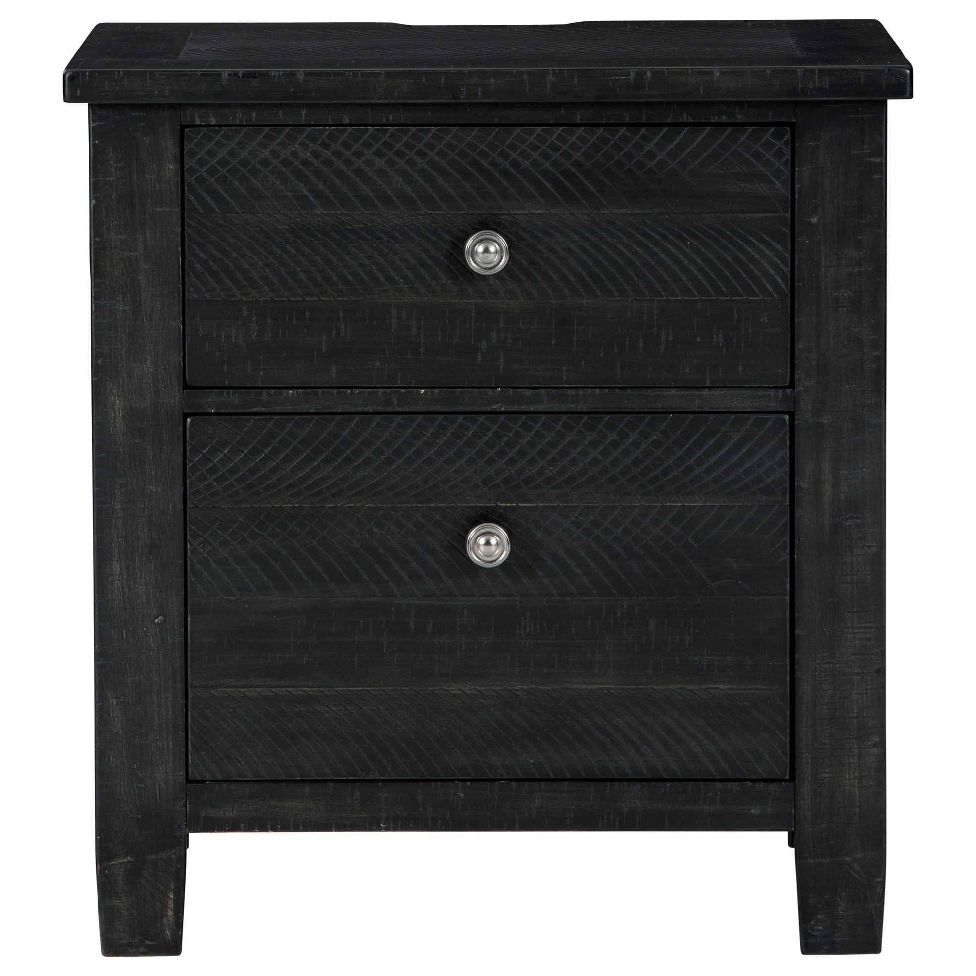 Noorbrook Rustic 2 Drawer Nightstand In Black Finish With Outlets And Usb Charging Becker Furniture Nightstands