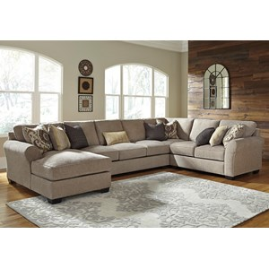 Benchcraft Pantomine 4-Piece Sectional w/ Chaise & Armless Sofa