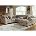 Ashley Pantomine 4-Piece Sectional with Right Chaise - Item Number: 3910255+77+34+17