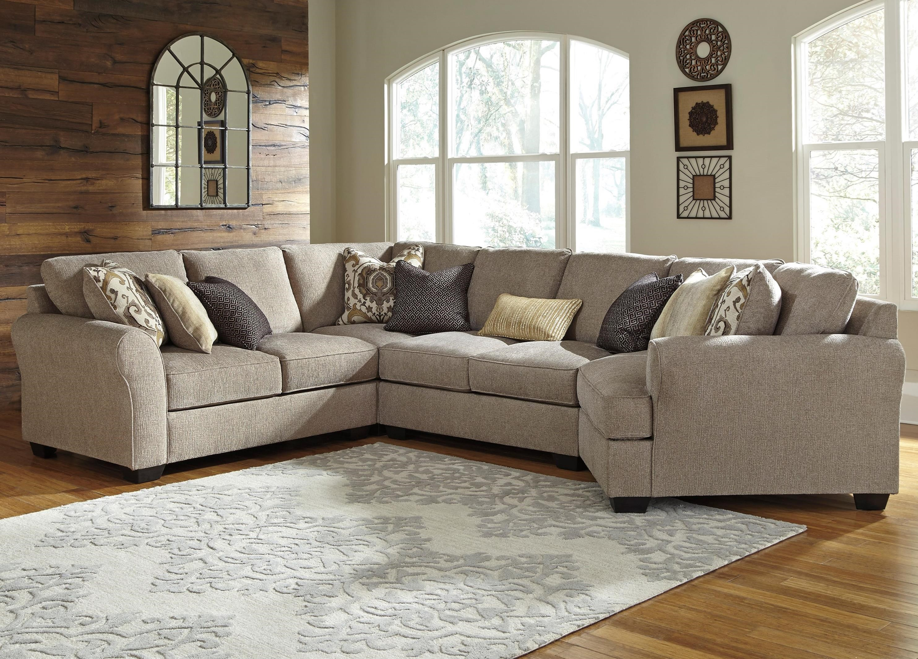 Benchcraft Pantomine 4-Piece Sectional with Right Cuddler - Item Number: 3910255+77+34+75