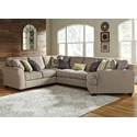 Ashley Pantomine 4-Piece Sectional with Right Cuddler - Item Number: 3910255+77+34+75