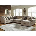 Ashley/Benchcraft Pantomine 4-Piece Sectional w/ Chaise & Armless Sofa - Item Number: 3910255+77+99+17