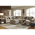 Ashley/Benchcraft Pantomine 4-Piece Sectional with Right Chaise & Armless Sofa