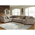 Ashley Pantomine 4-Piece Sectional w/ Cuddler & Arrnless Sofa - Item Number: 3910255+77+99+75