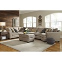 Benchcraft Pantomine 4-Piece Sectional with Right Cuddler & Armless Sofa