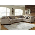 Benchcraft Pantomine 4-Piece Sectional w/ Cuddler & Arrnless Sofa - Item Number: 3910276+34+77+56