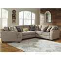 Ashley Pantomine 4-Piece Sectional with Left Cuddler - Item Number: 3910276+34+77+56