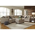 Benchcraft Pantomine 4-Piece Sectional with Left Cuddler & Armless Sofa
