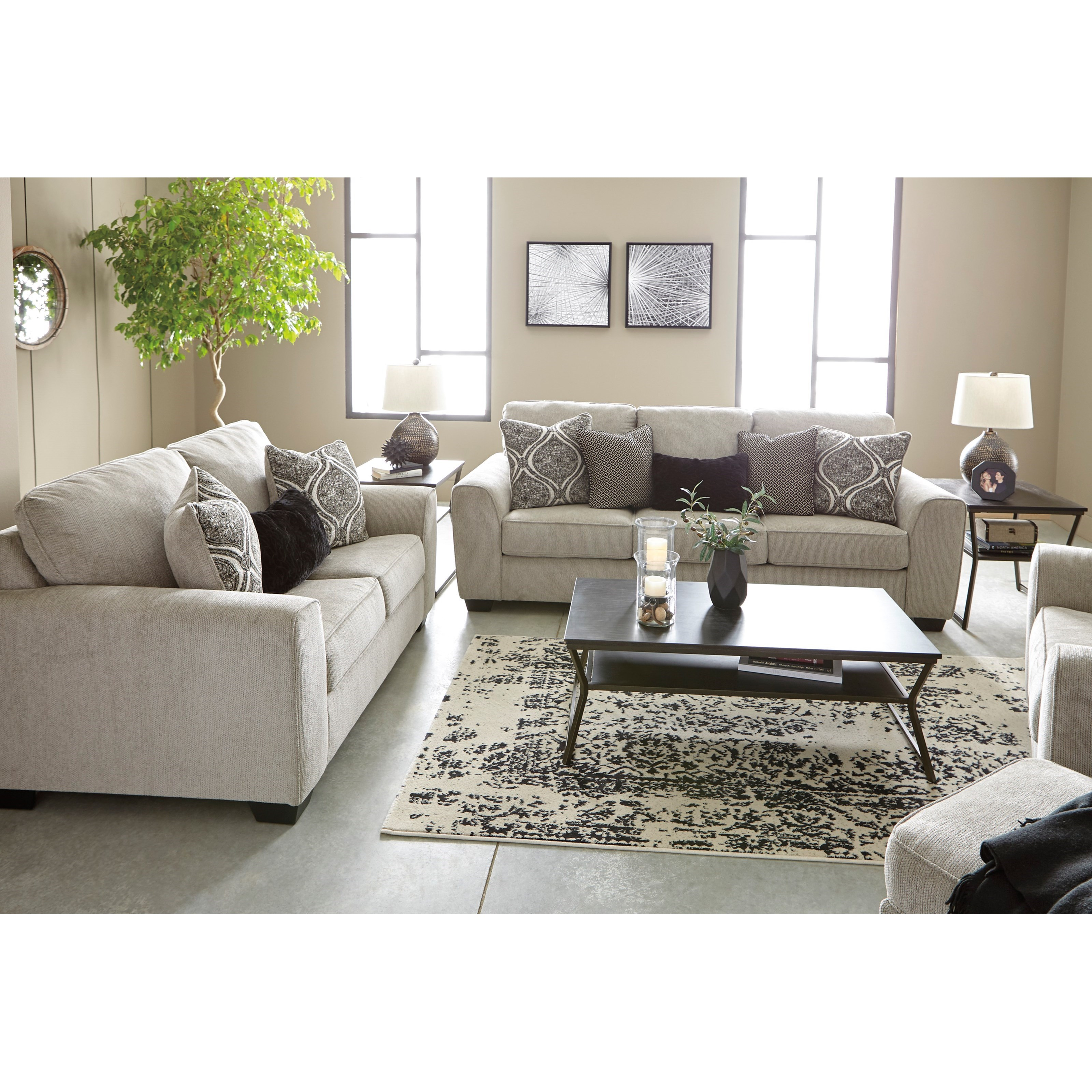 Parlston Contemporary Sofa With Five Toss Pillows