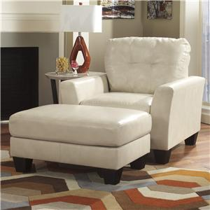 Ashley Paulie DuraBlend® - Taupe Chair and Ottoman Set