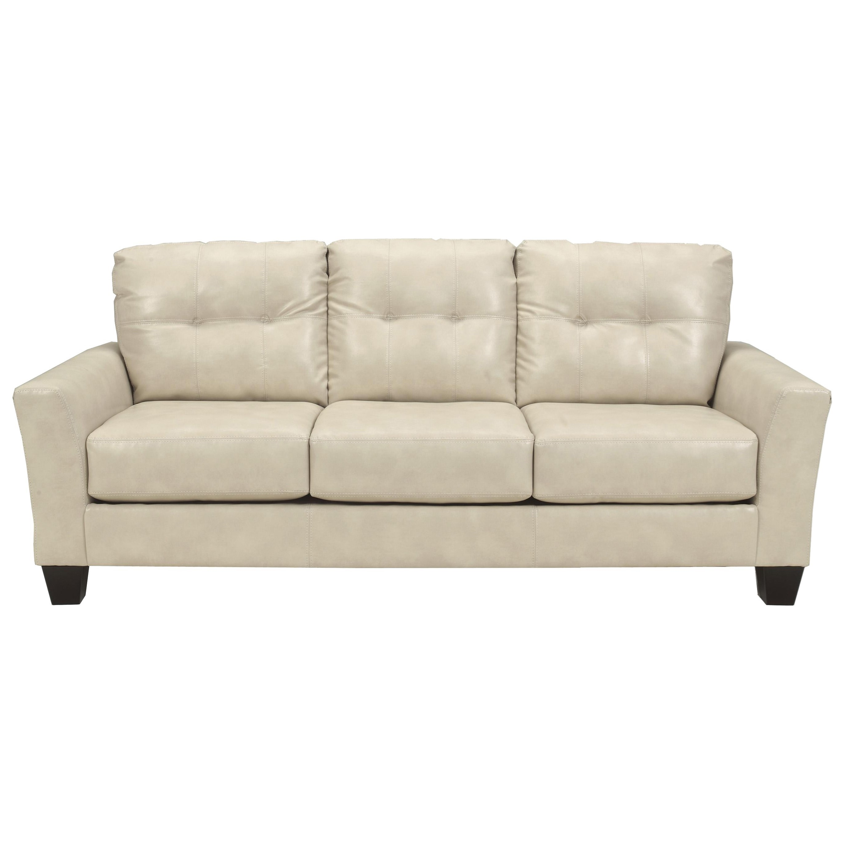 Benchcraft Paulie DuraBlend Taupe Contemporary Sofa with Tufted