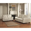 Ashley Paulie DuraBlend® - Taupe Contemporary Sofa with Tufted Detailing