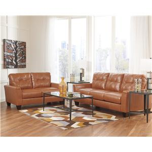 Benchcraft Paulie DuraBlend® - Orange Stationary Living Room Group