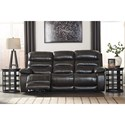 Benchcraft Pillement Leather Match Power Reclining Sofa w/ Adjustable Headrests