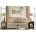 Benchcraft Quarry Hill Loveseat with Rolled Arms and Bun Feet