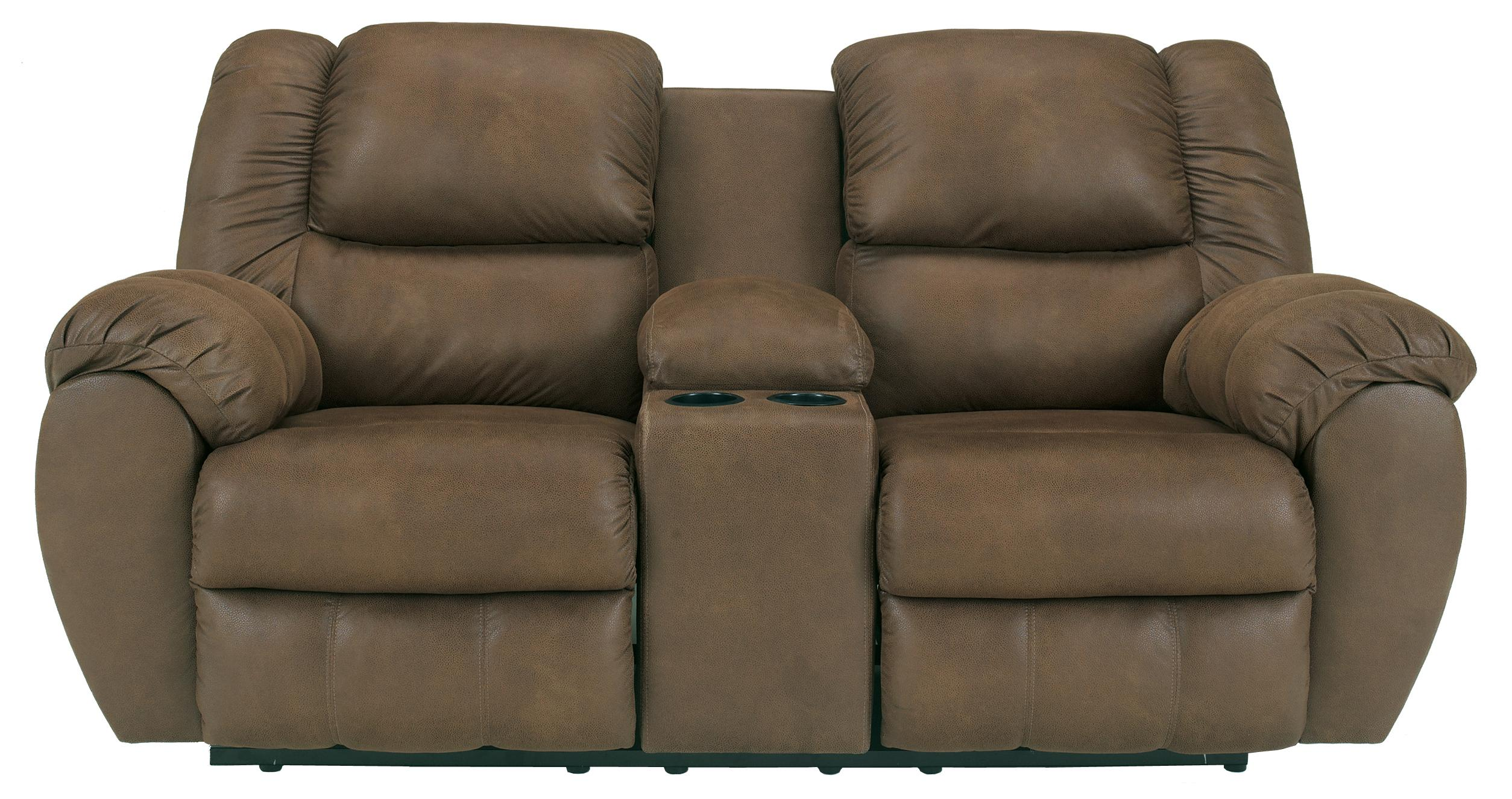 Benchcraft Quarterback - Canyon Reclining Loveseat w/ Console - Item Number: 3270194