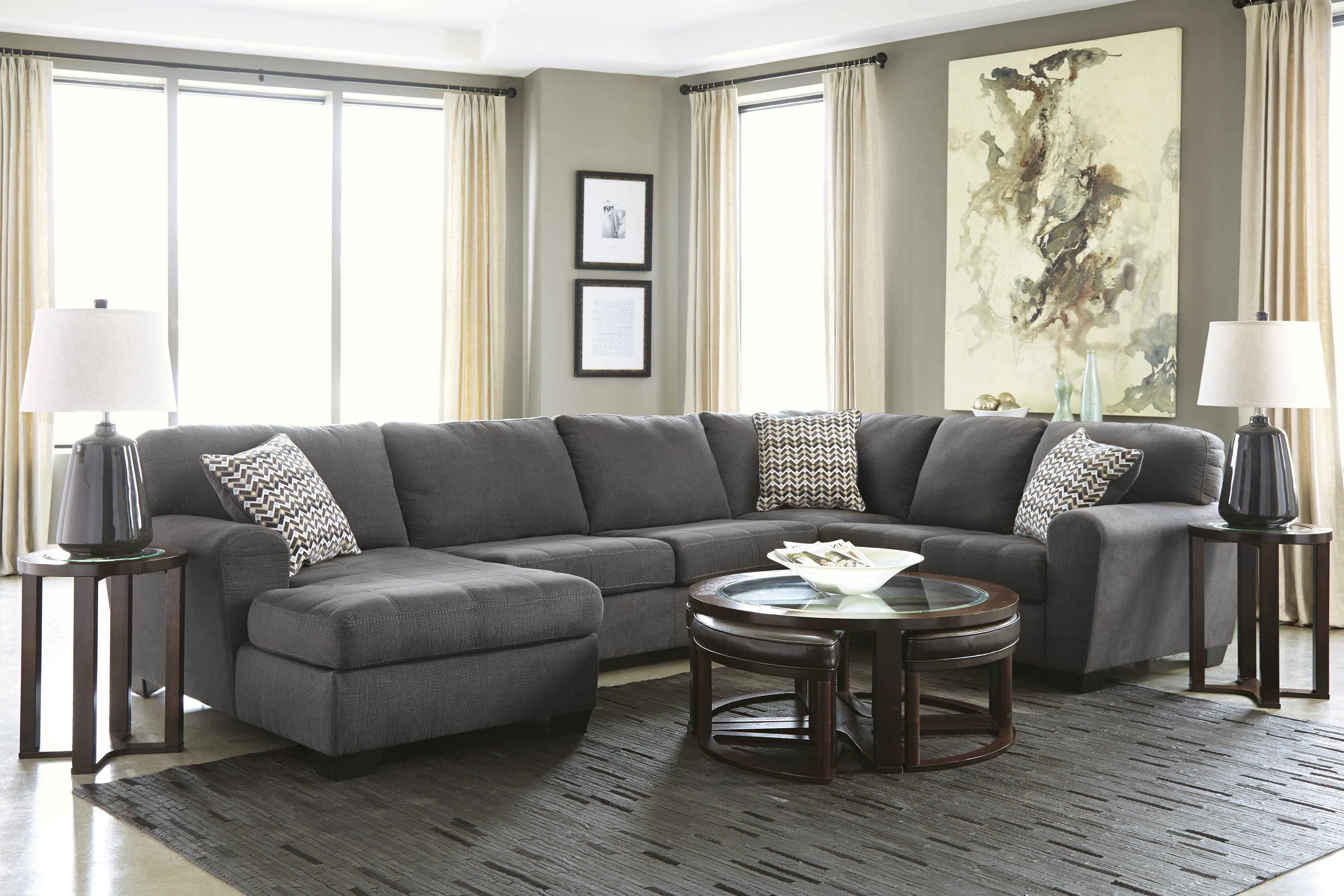 Benchcraft by ashley sorenton contemporary 3 piece for Ashley sectional sofa with chaise