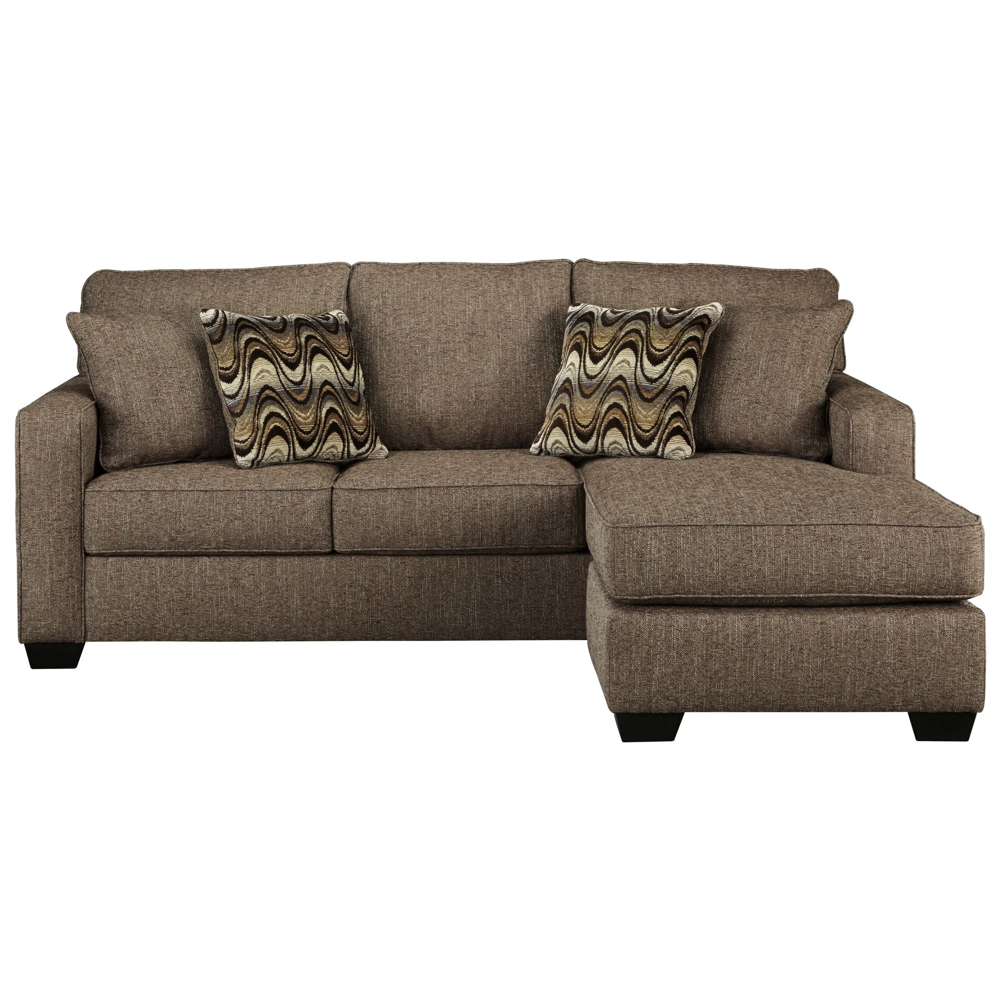 Benchcraft by ashley tanacra contemporary sofa chaise in for Ashley brown sofa chaise