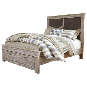 Queen Upholstered Panel Storage Bed