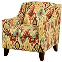 Belfort Essentials Lily Upholstered Chair with Sloping Track Arms and Tapered Wood Legs