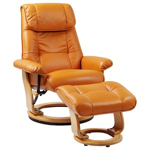 Reclining Chair and Ottoman w/ Light Wood