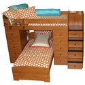 Berg Space Saver Twin Over Twin Bunk Bed with Two Chests - Top View, Shown with Bronze Knobs