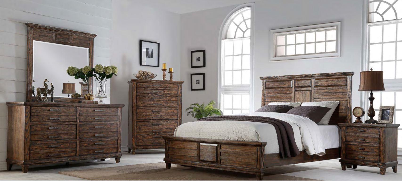Bernards Cortez King Bed, Dresser, Mirror & Nightstand - Item Number: GRP-1630-KINGSET