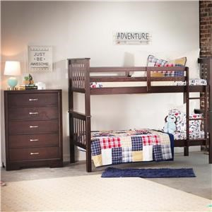 Bernards Sadler Merlot Bunk Bed With Chest