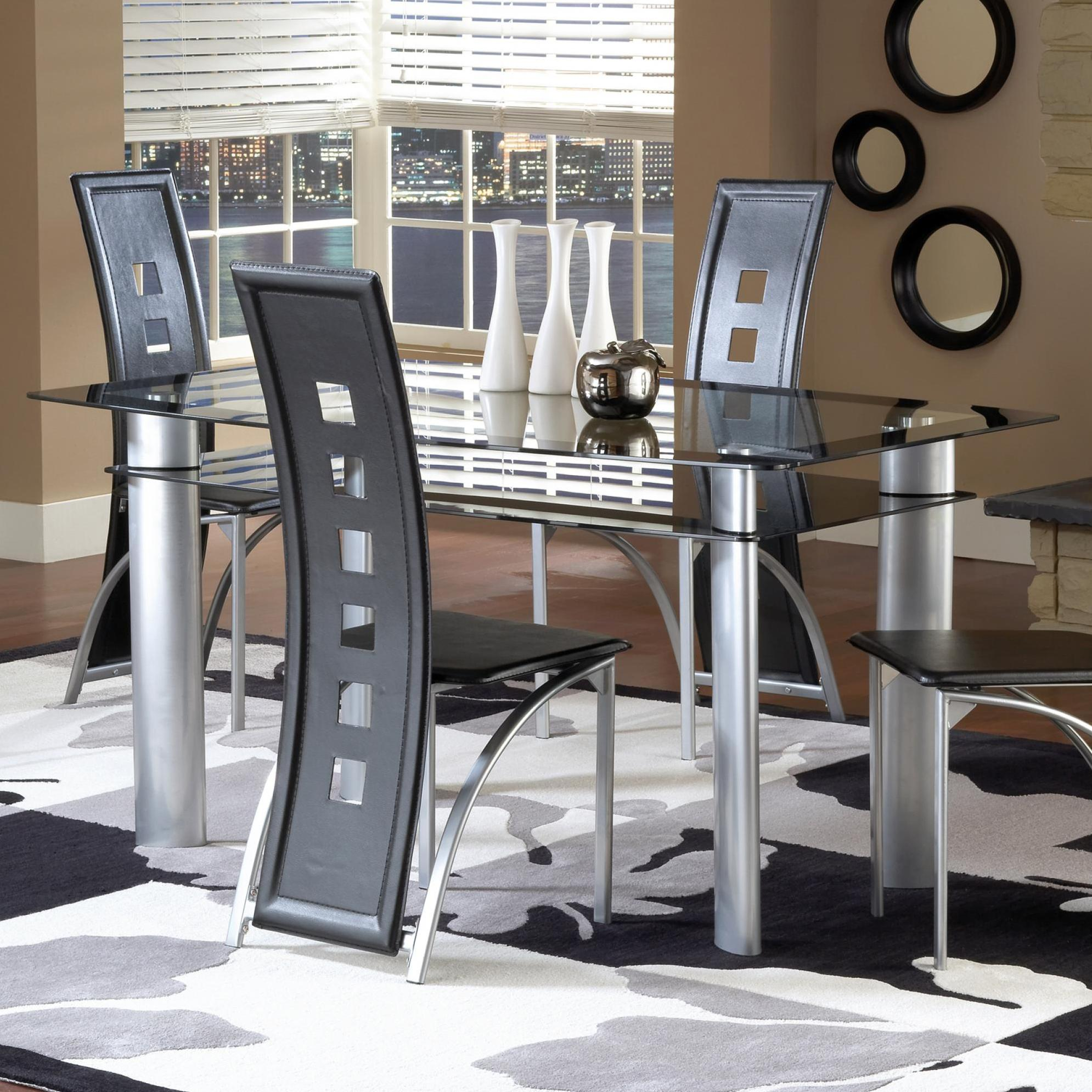 Dinette Table with Black/Satin Silver Finish