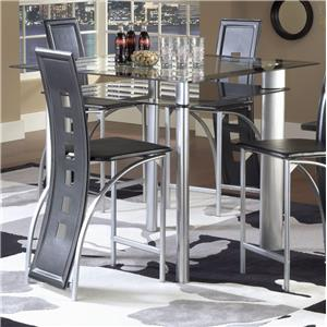 Bernards Astro Pub Table - Black / Satin Silver